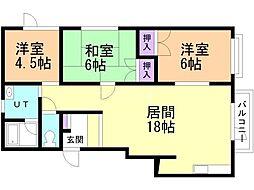 一棟二戸(1-38)久木邸貸家 1階3LDKの間取り