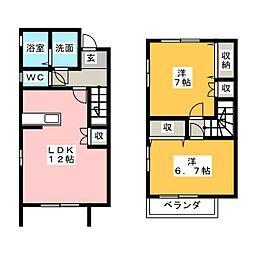[テラスハウス] 静岡県浜松市南区小沢渡町 の賃貸【静岡県 / 浜松市南区】の間取り