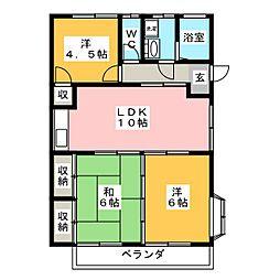 トレンディ平野B[1階]の間取り