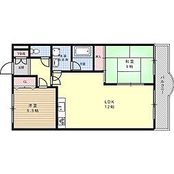 大阪府高槻市塚脇4丁目の賃貸マンションの間取り