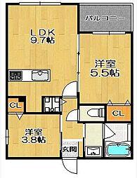 キミヱ飯倉レジデンス 2階2LDKの間取り