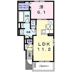 高松琴平電気鉄道長尾線 池戸駅 徒歩9分の賃貸アパート 1階1LDKの間取り