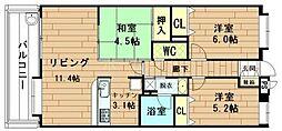 福岡県春日市白水ヶ丘4丁目の賃貸マンションの間取り