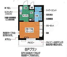 富士見ハイム 1階1Kの間取り