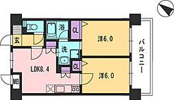 コンダクト福岡東[604号室]の間取り