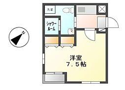 愛知県名古屋市熱田区伝馬2丁目の賃貸アパートの間取り