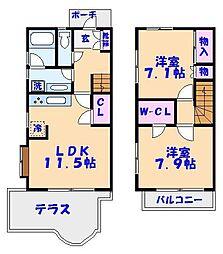 リバーサイド ガーデン シュトラールB[1階]の間取り