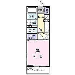 [家電付き] カーザアマレーロ 2階1Kの間取り