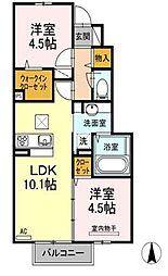 福岡県中間市長津1丁目の賃貸アパートの間取り