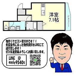 京阪本線 千林 徒歩7分 3階1Kの間取り