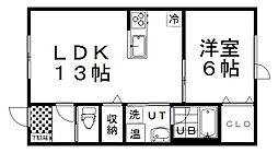 ブランシェ6 1階1LDKの間取り