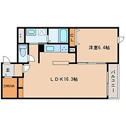 近鉄橿原線 田原本駅 徒歩16分の賃貸マンション 2階1LDKの間取り