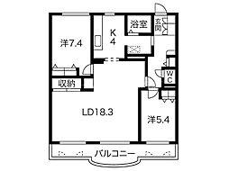 ラポール美香保A棟[2階]の間取り