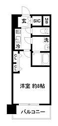 エステムコート京都西大路 4階1Kの間取り