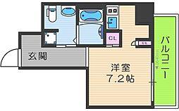 リンクハウス南堀江 3階ワンルームの間取り