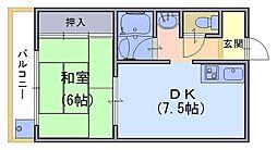 パルデンス長岡京[205号室]の間取り