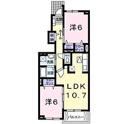 東京都八王子市中野山王2丁目の賃貸アパートの間取り