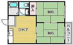 大阪府茨木市若園町の賃貸アパートの間取り