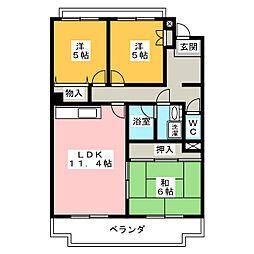 パークハイツ上野台[1階]の間取り