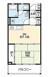 UR高槻・阿武山八番街 3階1DKの間取り
