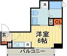 JR京浜東北・根岸線 西川口駅 徒歩5分の賃貸マンション 6階ワンルームの間取り