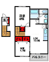 ソレイユ遠賀 A棟[2階]の間取り