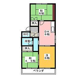 愛知県春日井市六軒屋町西1丁目の賃貸マンションの間取り