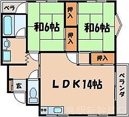 広島県広島市東区戸坂山崎町の賃貸マンションの間取り