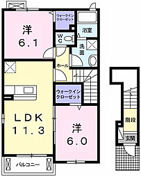 愛知県西尾市羽塚町本郷の賃貸アパートの間取り