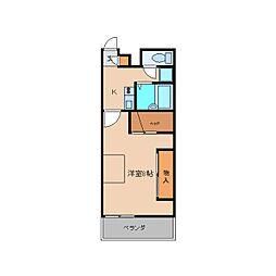 近鉄大阪線 五位堂駅 徒歩6分の賃貸アパート 2階1Kの間取り
