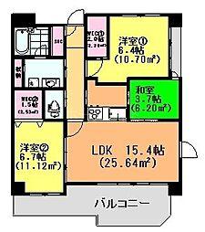 アクシオン高宮東フェリオ[4階]の間取り
