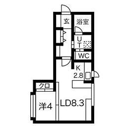 札幌市電2系統 資生館小学校前駅 徒歩6分の賃貸マンション 2階1LDKの間取り