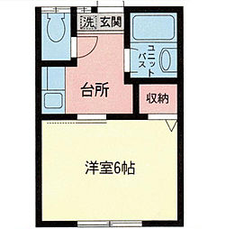 神奈川県横浜市神奈川区片倉4丁目の賃貸アパートの間取り