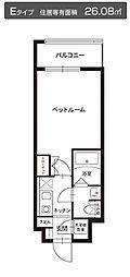 都営大江戸線 牛込神楽坂駅 徒歩3分の賃貸マンション 5階1Kの間取り