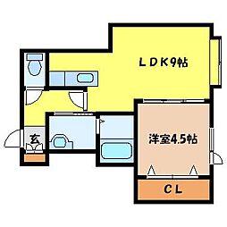 札幌市営東西線 西11丁目駅 徒歩14分の賃貸アパート 2階1LDKの間取り