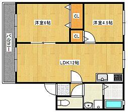 ハイム東山I[2階]の間取り