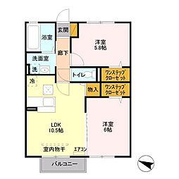 埼玉県上尾市大字中新井の賃貸アパートの間取り