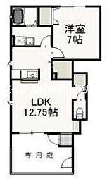 JR津山線 玉柏駅 徒歩18分の賃貸アパート 1階1LDKの間取り