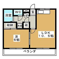 赤尾ハイツ井野[2階]の間取り