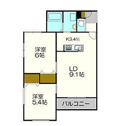 北海道札幌市白石区南郷通16丁目の賃貸マンションの間取り