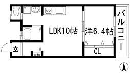 兵庫県伊丹市北野1丁目の賃貸マンションの間取り