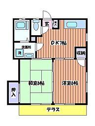 東京都日野市新町2丁目の賃貸アパートの間取り