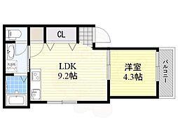 JR東海道・山陽本線 吹田駅 徒歩6分の賃貸アパート 2階1LDKの間取り