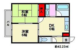 福岡県福岡市南区野多目5丁目の賃貸アパートの間取り