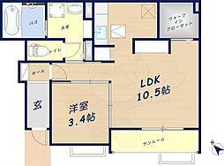 レーベ大和小泉 1階1LDKの間取り