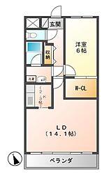 クレアートノムラ(CREART NOMURA[7階]の間取り