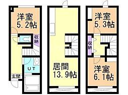 札幌市営東豊線 栄町駅 徒歩1分の賃貸テラスハウス 1階3LDKの間取り