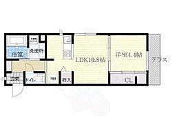 大阪モノレール本線 少路駅 徒歩7分の賃貸アパート 1階1LDKの間取り