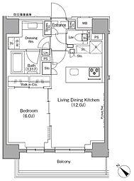 東京メトロ有楽町線 月島駅 徒歩1分の賃貸マンション 7階1LDKの間取り