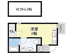 フェリスコート下新庄駅前 2階ワンルームの間取り